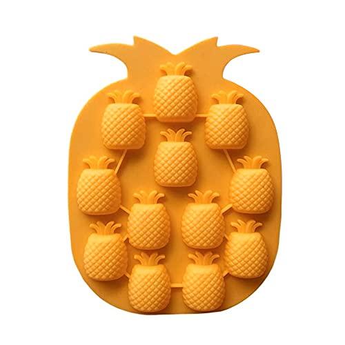 sebaoyu Eiswürfelform Ananas Crushed ice Silikon Gefrorenes Lolly wiederverwendbar Mold Multifunktionale Eiswürfel Ananas Shaped Haushalt Silikonform (Orange)