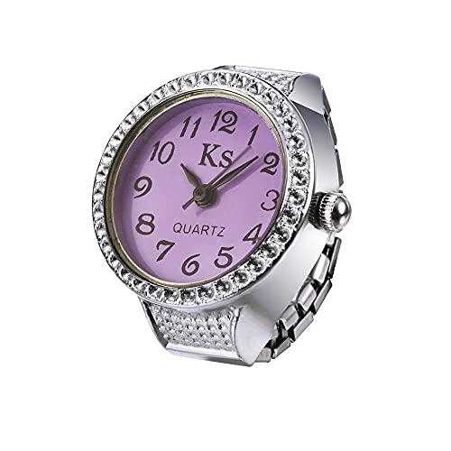 Bolange Reloj de anillo para mujeres y hombres, joyería de moda, reloj analógico creativo, buen regalo para el día de San Valentín