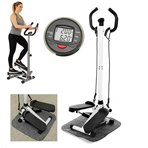 QWERTY Twist Stepper Exercise Indoor Steppers Multi-functional Pedal Weight-loss Leg Fitness Equipment With Handle Bar LCD Monitor Hydraulic Stepping Machine Stepper Mini Stepper Exercise
