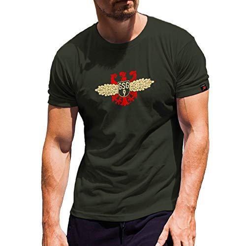 Grenzschutzgruppe 9 Bundesgrenzschutz Polizei BGS Uniform Grenze - T Shirt #1461, Größe:XL, Farbe:Oliv