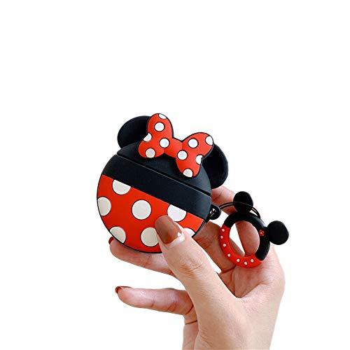 Cocomii 3D Disney AirPods Hülle, Schlank Dünn Matte Sanft TPU Silikon Gummi Gel Mit Schlüsselring 3D-Disney-Figuren Karikatur Case Bumper Cover Schutzhülle Compatible with Apple AirPods (Minnie Round)