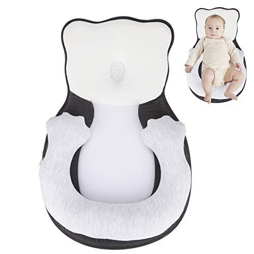 Hengda Babyschlafhilfe Tragbare Babyschlafsack Babyliege Kinderbett Stubenwagen Matratze Babykissen gegen Plattkopf und Kopfverformung-Grau