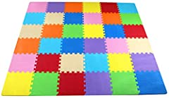 "16-Tile: Item comes with 16 tiles in 4 colors and 24 end borders (6 boarders each color). Each tile measures 12""x12""x0.4"". Each square = 1 square foot; total coverage 16 square feet (4' x 4' area) 36-Tile: Item comes with 36 tiles in 9 colors and 54 ..."