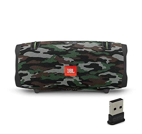 JBL Xtreme 2 Portable Bluetooth Waterproof Speaker Bundle with Plugable USB 2.0 Bluetooth Adapter - Camouflage (Renewed)