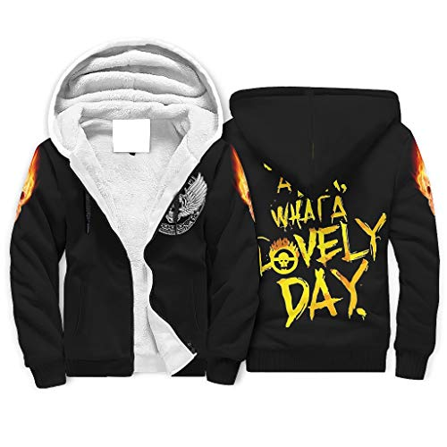 Mad Max Fury Road What A Lovely Day 3D Graphic Printed Full-Zip Hooded Fleece Sweatshirt with Front Pocket for Friends White m