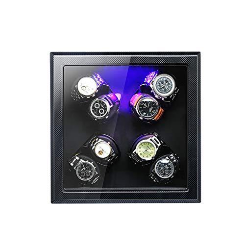 YZSHOUSE Cajas Giratorias for Relojes Automatico, 5 Modos De Rotación con Iluminación LED, Rectángulo Bobinadora for Relojes (Size : A-08)