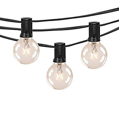 Globe String Lights with Warm G40 Bulbs-UL Listed Outdoor Hanging Light String for Backyard Garden Patio Bistro Market Cafe Umbrella Lamp Lights(Black)