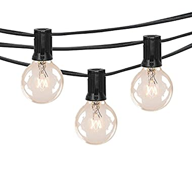 25Ft Outdoor Patio String Lights with 25 Clear Globe G40 Bulbs,UL Certified for Patio Porch Backyard Deck Bistro Gazebos Pergolas Balcony Wedding Gathering Parties Markets Decor, Black
