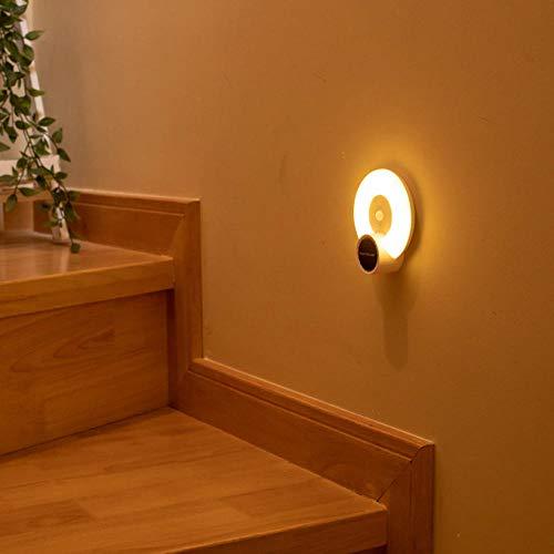 B/H Lámpara de mesilla de Noche Regulable táctil,Lámpara de inducción del Cuerpo Humano con luz Nocturna, Fuerte absorción magnética y luz Amarilla Recargable,Lámpara de Mesa
