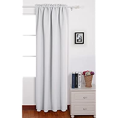 Deconovo Blackout Curtains Rod Pocket Blackout White Curtains Thermal Insulated Panel for Bedroom 42 W x 84 L Greyish White 1 Panel