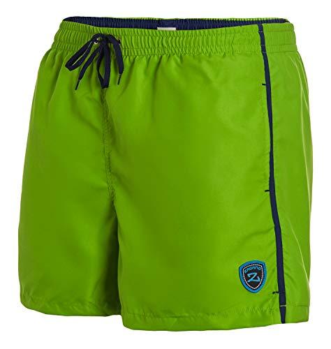 Zagano Männer Badehose Milan mit seitlichen Taschen Gesäßtasche I Modische Herren Shorts Schwimmen Freizeit Wassersport I Badeshorts in der Farbe Hellgrün, Größe 4XL