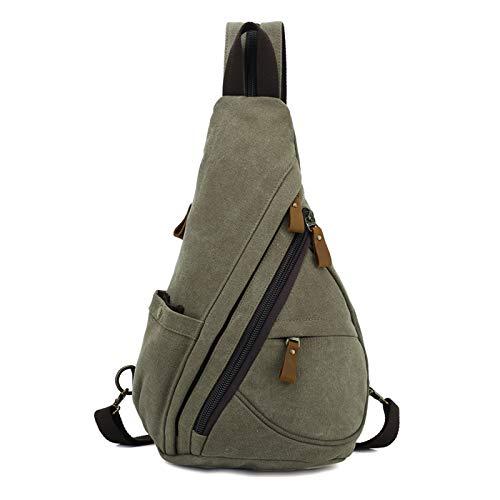 FANDARE Unisex Brusttasche Sling Bag 3 in 1 Herren Rucksack Damen Schulranzen Junge Mädchen Schulrucksack Schultertasche Umhängetasche Sporttasche für Schule Reise Pendeln Joggen Daypacks Armeegrün