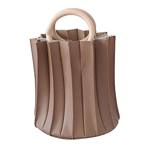 Evmho - Anillo de madera plegable tridimensional, portátil, un hombro, cruzado marrón