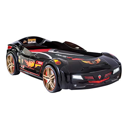 Cilek BiTurbo Twin Kids Car Bed Frame For Boys from 2 to 12 Remote Controlled, LED Headlights, Engine Sound, License Plate, Black