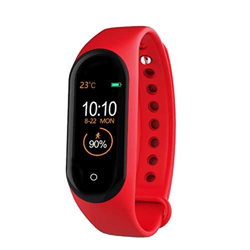 Longzhuo Orologio sportivo da uomo e donna M4 Smartwatch Smart Band Fitness Tracker Orologio da polso sportivo cardiofrequenzimetro Sfigmomanometro per la salute (rosso), rot, media