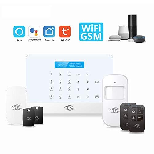 WYLDDP Wi-Fi en mobiel schakelbaar beveiligingsalarmsysteem, inbraakbeveiliging voor thuis en bedrijven, draadloze verdedigingszones, werken met Alexa en APP-afstandsbediening