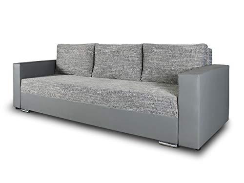 Schlafsofa Bird - Sofa mit Schlaffunktion und Bettkasten, Klappsofa, Schlafcouch mit Chromfüße, Couch, Couchgarnitur, Sofagarnitur (Grau + Grau (Dolaro 04 + Berlin 01))