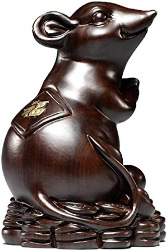 LULUDP-Decoración Presente China escultura estatua estatua de Colección decoración del hogar Decoración del zodiaco de madera de caoba rata del ratón del Feng Shui ébano del estreno de regalo Manualid