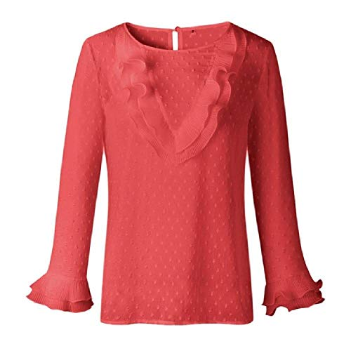 NOBRAND Blusa de manga larga para mujer con volantes casuales de encaje y lunares