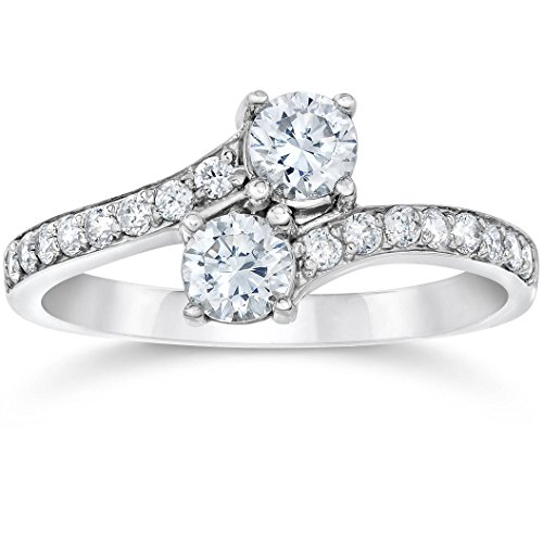 Forever Us Two Stone Round Diamond 1 Ct Solitaire Ring 14k White Gold - Size 6
