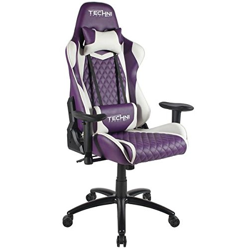 Techni Sport High Back Racing Chair with Padded Arms, Reclining Office Chair with Height and Tilt Adjustment, Purple