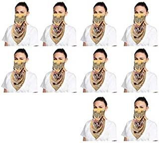 NestRoots Cloth pack of 10 Face Mask scarff Washable Reusable Face Masks Outdoor Protection   Soft Earloop/Mouth Nose cover scarff face masks Women Kids Girls (Yellow Printed)