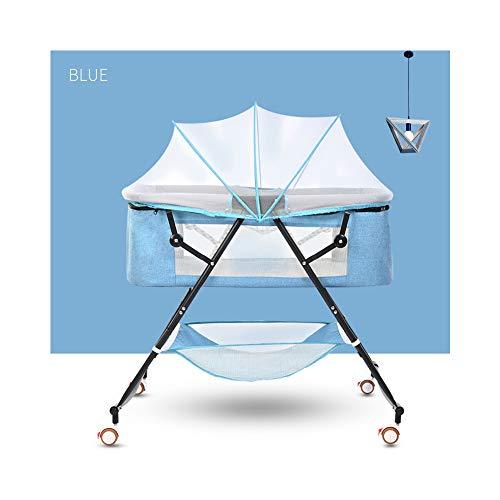 EASOUG Mosquitera para Mini Cuna,2 in 1 Cuna de Viaje,Cuna de colecho,Plegable, con Accesorios, Co-Sleeping,Azul