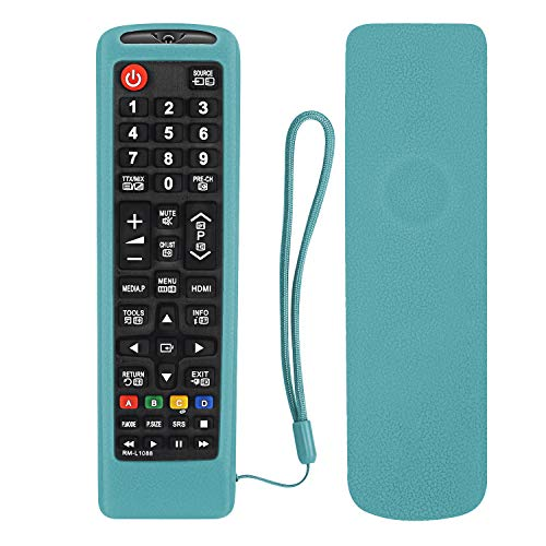 Silicone Remote Control Case for Samsung TV Remote AA59-00741A BN59-01199F BN59-01301A BN59-01041A Skin-Friendly Washable with Remote Free Lanyard (Glow in Dark Blue)