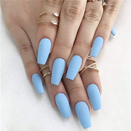 Fstrend 24Pcs False Nails Matte Full Cover Medium Ballerina Coffin Natural Blue Acrylic Fake Nails Punk Christmas Party Prom Clip on Nail for Women and Girls