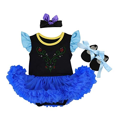 Baby Princess Anna Coronation Costume Fancy Dress Halloween Christmas Party Romper Bodysuit Cosplay Headband Shoes 3pcs Outfits Set Blue+Black 0-3 Months