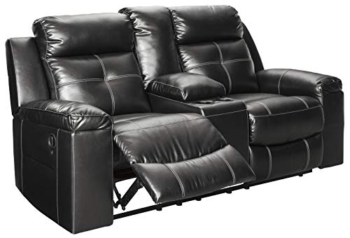 Signature Design by Ashley - Kempten Contemporary Faux Leather Double Reclining Loveseat - Console - Black