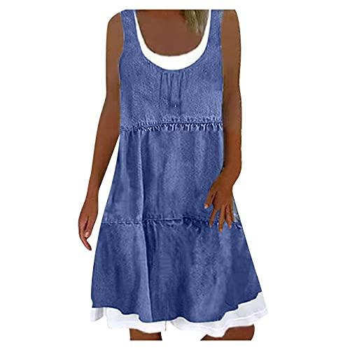 Womens Mini Dresses, Simulation Denim Printing Short Sleeve Crew Neck Fake Two-Piece Design Loose Dress Tops