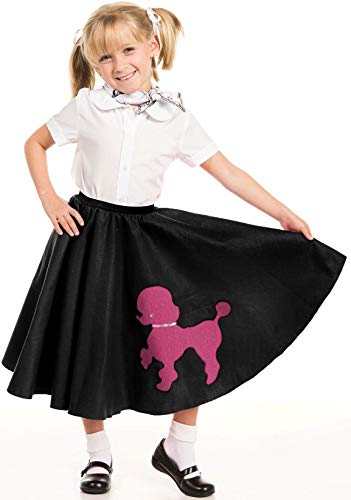 Kidcostumes Black Poodle Skirt with Musical Note Printed Scarf