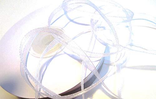 CaPiSo® 100 m Organza Chiffon 3 mm breit mit Webkante (Weiss)