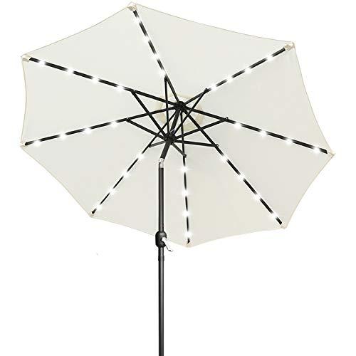 ABCCANOPY 275cm Gartenschirm Sonnenschirm neigbar mit 32 Solar-LED-Lichtern,für Garten,Deck,Schwimmbad,Sandstrand,Hellbeige