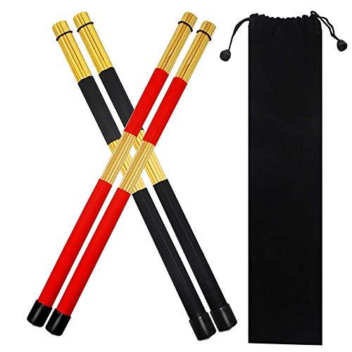 Tiamu Drumsticks Set, 2 Paar Drum Rods Stöcke Jazz TrommelstöCke mit Aufbewahrungstasche zum Jazz Volk Musik