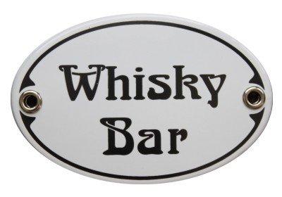 Türschild Whisky Bar Emaille Schild Jugendstil 7 x 10,5 cm Emailschild oval weiß (ohne Holzrahmen)