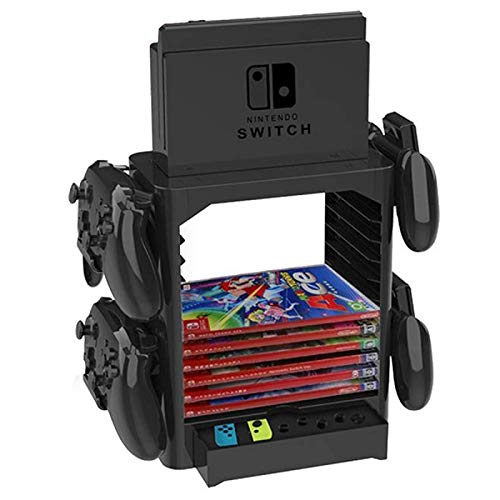 HaiQianXin Soporte de Almacenamiento de Juegos de la Torre de Almacenamiento de Juegos multifunción Soporte de Estante para Nintendo Switch Disc Console Controlador de Host