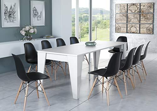Skraut Home - Tavolo allungabile fino 239 cm, modello TM, consolle da pranzo , colore bianco. Chiuso: 90x53,6x74,6cm