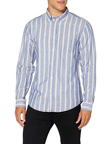 Springfield Linen Stripe-C/16 Camisa Casual, Azul (Light_Blue 16), L (Tamaño del Fabricante: L) para Hombre