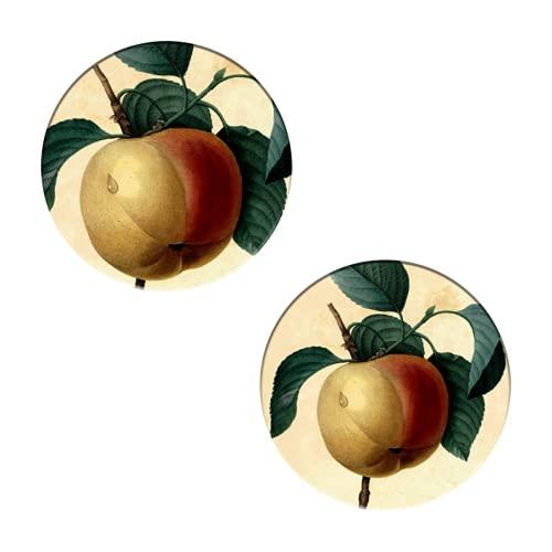Posavasos para bebidas, ilustración botánica de manzana, de P.J. Redouté, juego de 2 posavasos redondos para protección de mesa, decoración de bar, cocina y bar