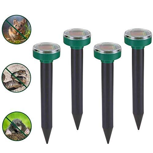 Nurkoo 4er Solar Maulwurfabwehr IP65 Ultrasonic Maulwurfschreck,Mole Repellent, Wühlmausschreck, Wühlmausvertreiber, Maulwurf Vertreiber für Den Garten Rasen Hof-Grasgrün