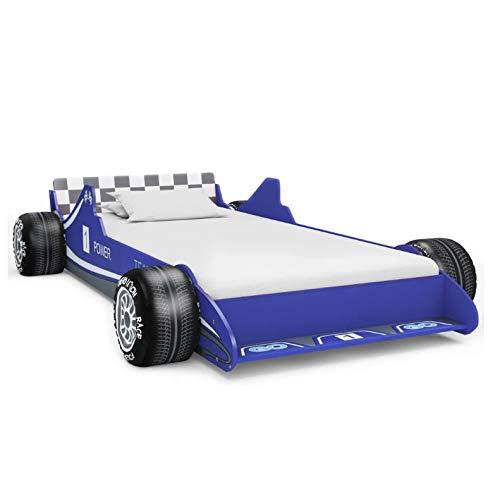 Cama Infantil Diseño Coche, Cama Individual con Forma de Coche de Carreras para Niños, Azul 90 x 200 cm