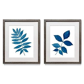 Renditions Gallery Indigo Botanica  2  2 Framed Artwork Set Colorful Botanical Flower Art Blue & White Leaf Distressed Silver Frame White Mat & Plexiglass 16 in W X 20 in H Made in America