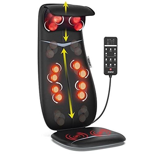 RENPHO Rückenmassagegerät, Shiatsu Massageauflage mit Wärmefunktion und Vibrationsfunktion, Höhenverstellbarer und S-förmiges Massageauflage, Elektrisches Massagegerät für Nacken und Schulter, Schwarz