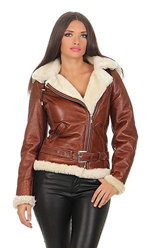 Hollert JESSY Cognac lamsvachtjas winterjas bikerjas leren jas korte jas met capuchon 100% echt Merino lamsvel S-2XL