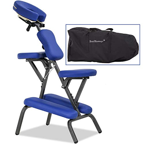 Massage Chair Portable Tattoo Chair Folding Height Adjustable 2 Inch Thick Sponge Light Weight Therapy Chairs Carring Bag Face Cradle Travel Spa Chairs,Blue