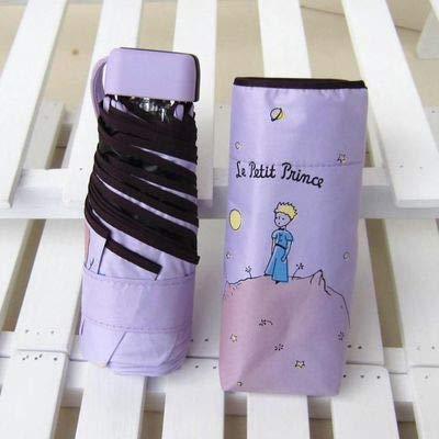 MAWA Dibujos Animados pequeño príncipe Paraguas Lluvia Mujeres Paraguas Plegable Mujer soleada Parasol Lindo Mini Paraguas de Bolsillo - príncipe púrpura