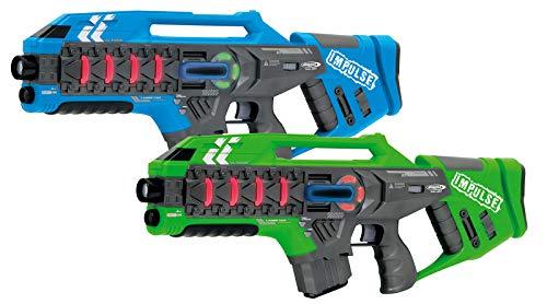 Jamara 410084 410084-Impulse Gun – Rifle Set blau/grün-Laser Tag mit 3 Battlemodi Spieler je Team, Last Man...