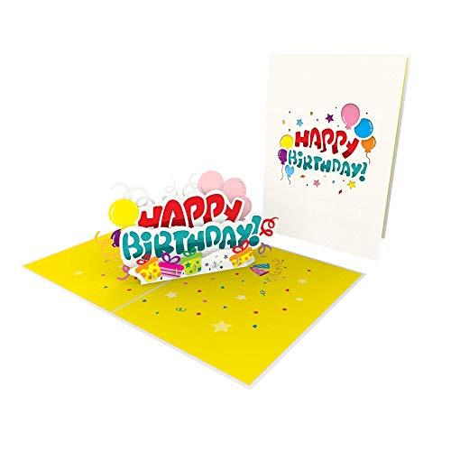"""Geburtstagskarte 3D Pop Up\""""Happy Birthday Banner mit Luftballons & Konfetti\"""" Popup Karte als Geschenk Gutschein, besondere Glückwunschkarte zum Geburtstag, außergewöhnliche Geschenk Karte"""